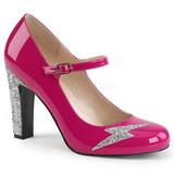 Pinkki Kiiltonahka 10 cm QUEEN-02 suuret koot avokkaat kengät