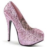 Pinkki Kimalle 14,5 cm Burlesque BORDELLO TEEZE-06G Platform Avokkaat Kengät