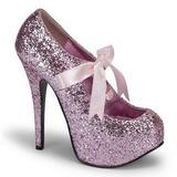 Pinkki Kimalle 14,5 cm Burlesque TEEZE-10G Platform Avokkaat Kengät