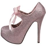 Pinkki Kristalli 14,5 cm Burlesque TEEZE-04R Platform Avokkaat Kengät