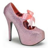Pinkki Kristalli 14,5 cm TEEZE-04R Platform Avokkaat Kengät
