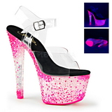 Pinkki Neon 18 cm Pleaser CRYSTALIZE-308PS Platform Sandaletit