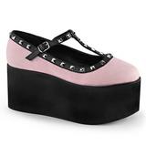 Pinkki kangas 8 cm CLICK-07 lolita kengät gootti platform