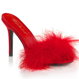 Punainen 10 cm CLASSIQUE-01F naisten puukengät marabou höyhenet