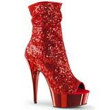Punainen 15 cm DELIGHT-1008SQ naisten paljetit nilkkurit korkeat korko