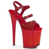 Punainen 20 cm FLAMINGO-874 kimallus platform sandaalit naisten