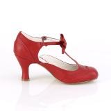 Punainen 7,5 cm retro vintage FLAPPER-11 Pinup avokkaat kengät alhainen korot