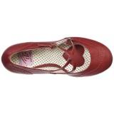 Punainen 7,5 cm retro vintage FLAPPER-35 Pinup avokkaat kengät alhainen korot
