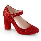 Punainen 9 cm SABRINA-07 avokkaat kengät paksu korko