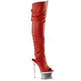 Punainen Keinonahka 16,5 cm ILLUSION-3019 korokepohja pitkät saappaat