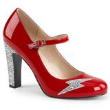 Punainen Kiiltonahka 10 cm QUEEN-02 suuret koot avokkaat kengät