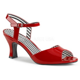 Punainen Kiiltonahka 7,5 cm JENNA-09 suuret koot sandaalit naisten