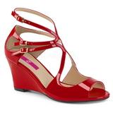 Punainen Kiiltonahka 7,5 cm KIMBERLY-04 suuret koot sandaalit naisten