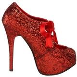 Punainen Kimalle 14,5 cm Burlesque TEEZE-10G Platform Avokkaat Kengät