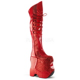 Punainen Kimalle 22 cm FABULOUS-3035 Reisisaappaat varten Drag Queen