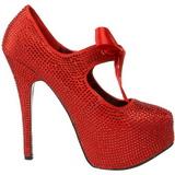 Punainen Kristalli 14,5 cm Burlesque TEEZE-04R Platform Avokkaat Kengät