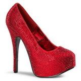 Punainen Kristalli 14,5 cm Burlesque TEEZE-06R Platform Avokkaat Kengät