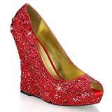 Punainen Kristalli Kivi 13,5 cm ISABELLE-18 Kiila Avokkaat Kengät
