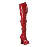 Punainen Lakka 13 cm ELECTRA-3028 korolliset ylipolvensaappaat