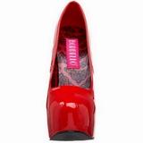 Punainen Lakka 14,5 cm Burlesque BORDELLO TEEZE-06 Platform Avokkaat Kengät