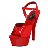 Punainen Lakka 15 cm Pleaser KISS-209 Platform Korkosandaalit