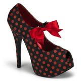 Punainen Pistettä 14,5 cm Burlesque TEEZE-25 Musta Avokkaat Kengät