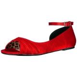 Punainen Satiini ANNA-03 suuret koot ballerinat kengät