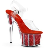 Punainen kimalle 18 cm Pleaser ADORE-708G tankotanssi kengät