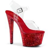 Punainen kimalle 18 cm Pleaser SKY-308LG tankotanssi kengät