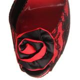 Punainen pitsi kangas 13,5 cm BELLA-17 Korkeat Juhlasandaalit