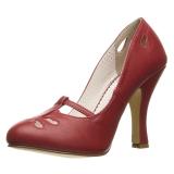 Punaiset 10 cm SMITTEN-20 Pinup avokkaat kengät alhainen korot