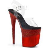 Punaiset 20 cm FLAMINGO-808-2HGM kimallus platform sandaalit naisten