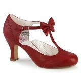 Punaiset 7,5 cm retro vintage FLAPPER-11 Pinup avokkaat kengät alhainen korot