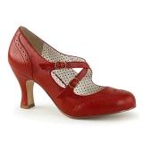 Punaiset 7,5 cm retro vintage FLAPPER-35 Pinup avokkaat kengät alhainen korot