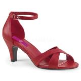 Punaiset Keinonahka 7,5 cm DIVINE-435 suuret koot sandaalit naisten