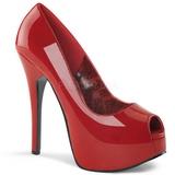 Punaiset Lakatut 14,5 cm Burlesque TEEZE-22 Piikkikorkoiset avokkaat
