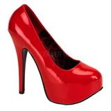 Punaiset Lakka 14,5 cm Burlesque BORDELLO TEEZE-06 Platform Avokkaat Kengät