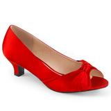 Punaiset Satiini 5 cm FAB-422 suuret koot avokkaat kengät