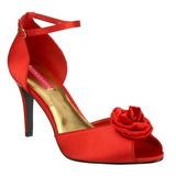 Punaiset Satiini 9,5 cm ROSA-02 Naisten Sandaletit Korkea