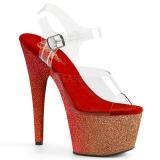 Punaiset kimalle 18 cm Pleaser ADORE-708OMBRE tankotanssi kengät