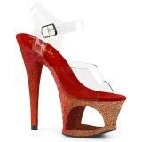 Punaiset kimalle 18 cm Pleaser MOON-708OMBRE tankotanssi kengät