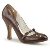 Ruskea 10 cm SMITTEN-20 Pinup avokkaat kengät alhainen korot