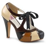 Ruskea 11,5 cm retro vintage BETTIE-19 naisten kengät korkeat korko