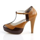 Ruskea 11,5 cm retro vintage BETTIE-29 Pinup avokkaat kengät piilotettu platform