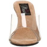 Ruskea Läpinäkyvä 8 cm BELLE-301 Korkeakorkoiset Muulit Kengät