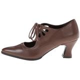 Ruskea Matta 7 cm retro vintage VICTORIAN-03 Naisten kengät avokkaat