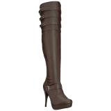 Ruskea keinonahka 13 cm CHLOE-308 leveyttä vasikat pitkävartiset saappaat