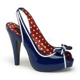 Sininen 11,5 cm retro vintage BETTIE-05 naisten kengät korkeat korko