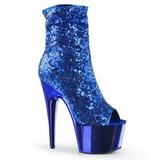 Sininen 18 cm ADORE-1008SQ naisten paljetit nilkkurit korkeat korko