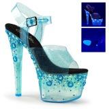 Sininen 18 cm SKY-308UVMG Neon Platform Korkeakorkoiset Sandaalit